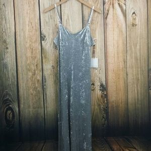 Calvin Klein Gray Crushed velvt maxi dress size 4